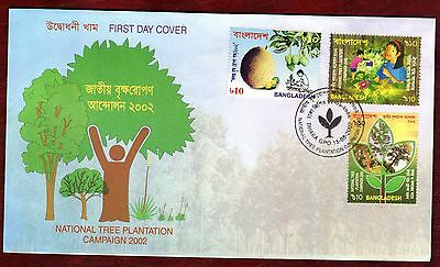 BANGLADESH STAMPS- national Tree Plantation, 2002  FDC