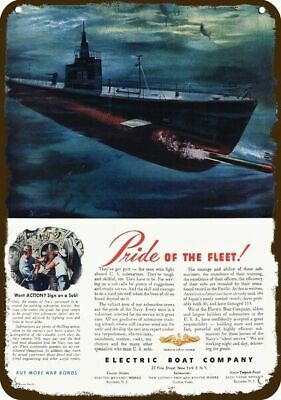 1944 ELECTRIC BOAT CO. Vintage Look Metal Sign - EBCO SUBMARINE FIRES TORPEDO