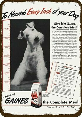 1944 GAINES DOG FOOD Vintage Appearance Replica Metal Sign WIRE HAIR FOX TERRIER