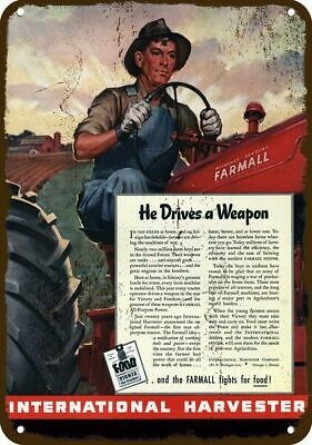 1944 INTERNATIONAL HARVESTER FARMALL FARM TRACTOR Vintage Look Metal Sign WEAPON