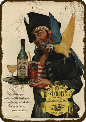 1944 OLD ST. CROIX RUM Vintage Appearance Replica Metal Sign - PIRATE & PARROT