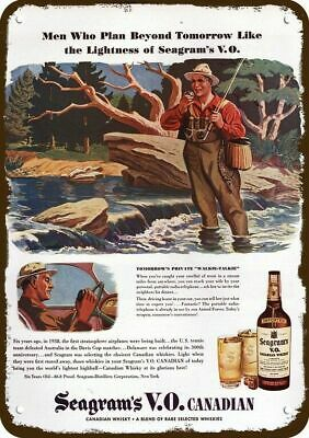 1944 SEAGRAM'S V.O. WHISKY Vintage Appearance Replica Metal Sign FLY FISHING