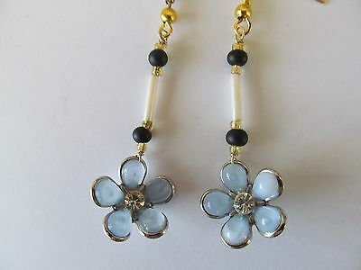 Vintage Power Blue Tone Carved Floral Lucite Plastic Pierced Gold Earrings