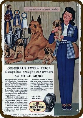 1944 THE GENERAL TIRE Vintage Appearance Replica Metal Sign GREAT DANE PUPPY DOG