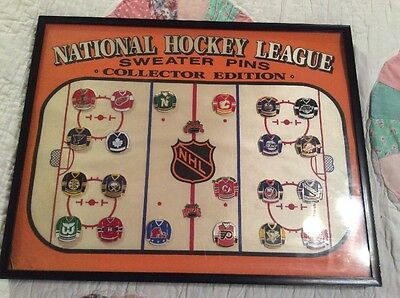 NHL Vintage 21 Teams Sweater Pins Framed In Glass Collectors Edition