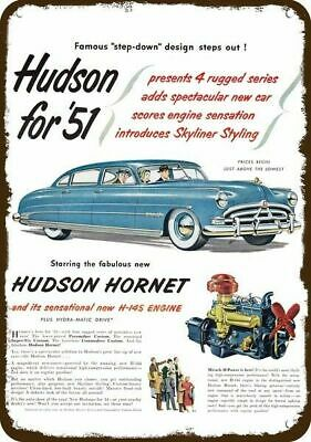 1951 HUDSON HORNET W/ H-145 ENGINE Blue Car Vintage Look REPLICA METAL SIGN