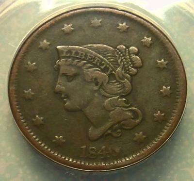 1840 ANACS VF20 Large Date Braided Hair Penny, Very Fine Large Cent Coin