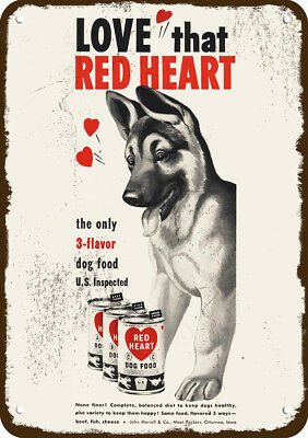 1951 RED HEART Dog Food Vintage Look Replica Metal Sign - GERMAN SHEPHERD Puppy