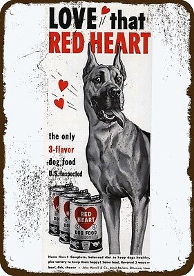 1951 RED HEART Dog Food Vintage Appearance Replica Metal Sign - GREAT DANE Dog