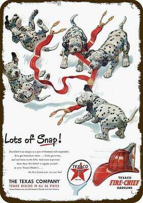 1951 TEXACO GAS Vintage Appearance Replica Metal Sign Cute DALMATIAN PUPPY DOGS