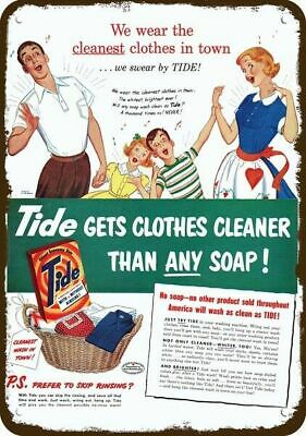 1951 TIDE LAUNDRY SOAP Vintage Look Replica Metal Sign - FAMILY CLEANEST CLOTHES
