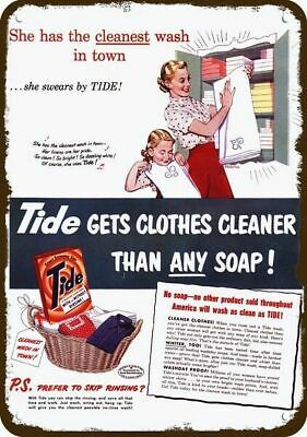 1951 TIDE LAUNDRY SOAP Vintage Look Replica Metal Sign MOM & DAUGHTER FOLD TOWEL