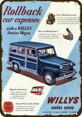 1951 WILLYS JEEP STATION WAGON TRUCK CAR Vintage Appearance Replica Metal Sign