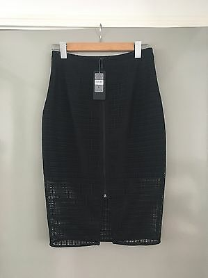 Forever New Dominiqe Mesh Zip Front Pencil skirt Size 8 New