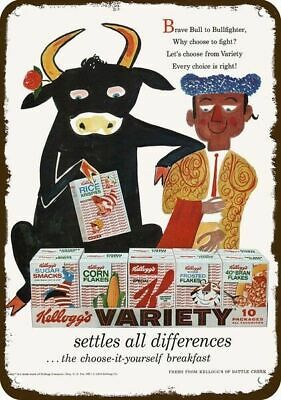 1958 KELLOGG'S Cereal Vintage Look Replica Metal Sign - BULL & MATADOR Art