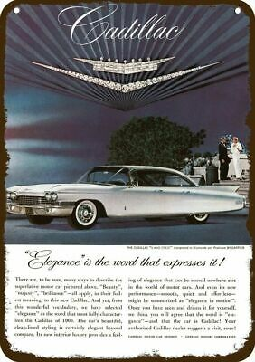 1960 CADILLAC BROUGHAM Luxury White Car Vintage Look Replica Metal Sign