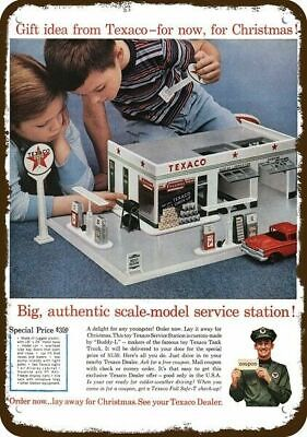 1960 TEXACO CHRISTMAS TOY SERVICE STATION Vintage Appearance Replica Metal Sign