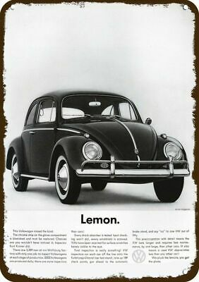 1960 VOLKSWAGEN BEETLE Car Vintage Look Replica Metal Sign VW BUG -  LEMON