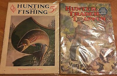 Vintage Hunting Fishing Magazine Covers 1927 & 1928 Trout Outdoors