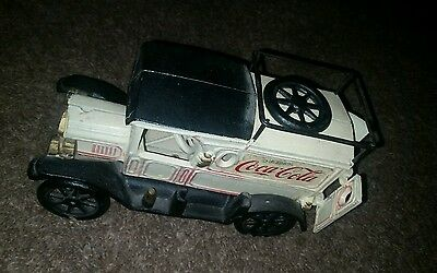 Vintage cast iron coca cola delivery truck, spare tire, toy, coke collectible