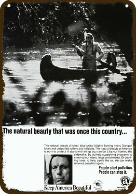 1971 AD COUNCIL Vintage Look Replica Metal Sign - INDIAN CRIES OVER POLLUTION