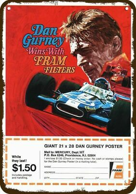 1971 FRAM FILTER Vintage Look Replica Metal Sign - RACE CAR DRIVER DAN GURNEY