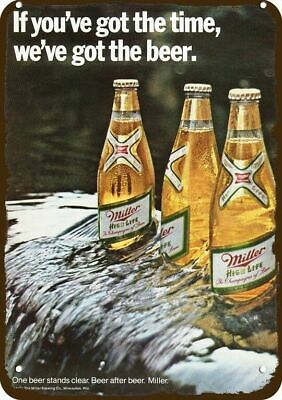 1971 MILLER BEER Vintage Look Replica Metal Sign BEER BOTTLES ON RIVER WATERFALL