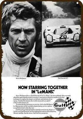 1971 PORSCHE 917 GULF Car Vintage Look Replica Metal Sign LeMANS & STEVE McQUEEN