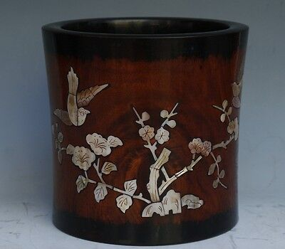 Chinese Exquisite Handmade Flowers and birds Inlaid shells Wooden pen holder