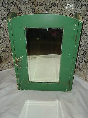 Antique Medicine Cabinet Shabby Wood Cupboard Beveled Mirror Bathroom Cabinet