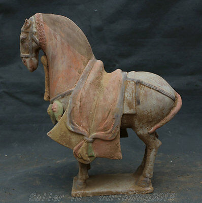 """12""""Old Chinese Palace Tang San Cai Pottery Collection Folk lifelike Horse Statue"""
