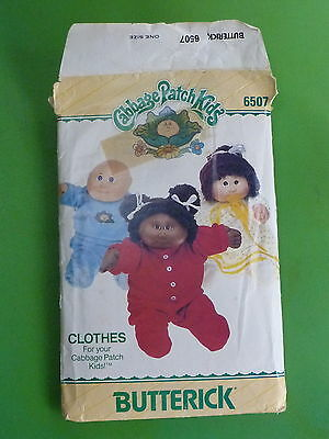 Butterick 6507 Pattern 1984 Cabbage Patch Kids Clothes Top Pants Nightgown PJ's