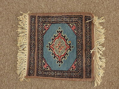 """Vintage hooked punch needle mat doll house rug Blue Geometric 12"""" square (Lot2)"""