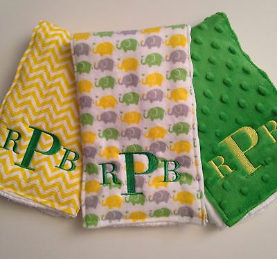 Green and Yellow Monogrammed Personalized Boy Or Girl Burp Cloths - Elephants