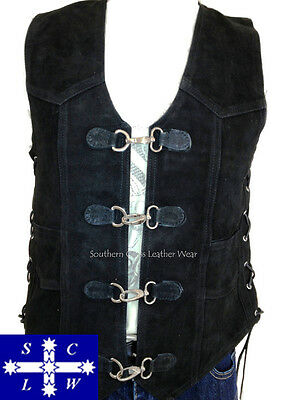 Men's SUEDE Motorcycle Vest with Metal Clasps Size M-5XL