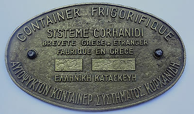 Greece CORHANIDI Refrigerated Containers Greek Patent  Heavy Brass Plaque Plate