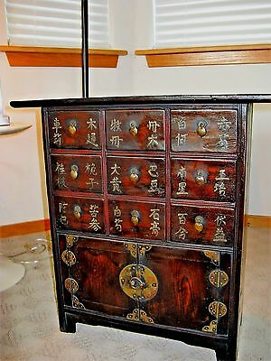 Vintage Rustic Chinese Medicine Apothecary Cabinet, Table Top, !st half of 20thc