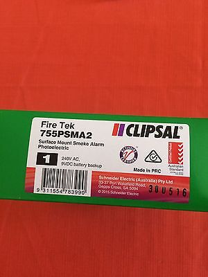 Clipsal Fire-tek Smoke Detector Photoelectric With Battery Back Up. Brand New