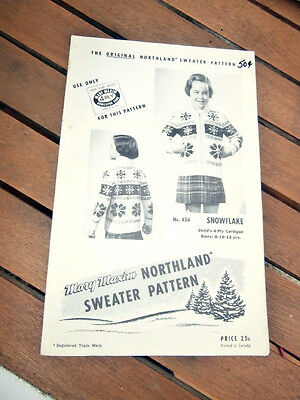 Vtg Mary Maxim Northland Sweater Pattern 454 Snowflake Childs size 8-12