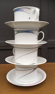 4 Rorstrand Swedish Galaxy Cups & Saucers Sweden Modern 80s