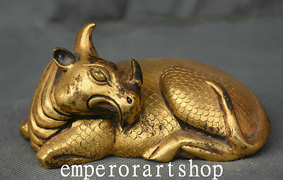 Old Chinese Dynasty Folk Antique 24K Gold Bull Oxen Buffalo Carabao Statue