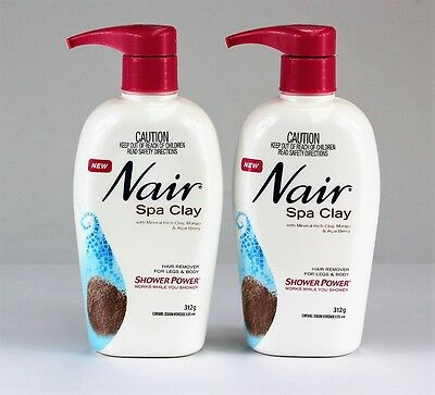 2 X Nair 312g Shower Power Spa Clay Hair Remover For Legs & Body