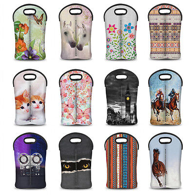 2 Bottle Drinks/Wine/Beer Thermal Insulated Neoprene Bag Tote Carrier Cool Gift
