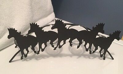 Western Metal Horses Silhouette Rustic 4 Candle Votives
