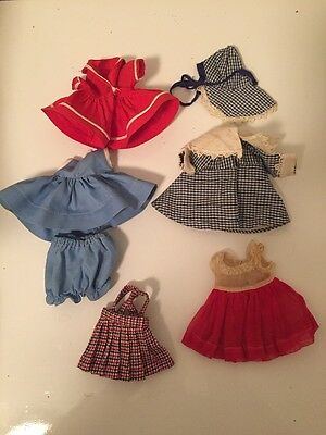 Vintage Ginny Vogue Doll Clothing Lot Outfits Dresses And Hat Bloomers Blue Red