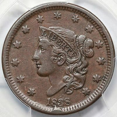 1838 N-4 PCGS XF 40 Matron or Coronet Head Large Cent Coin 1c