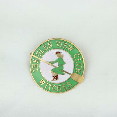 VTG The Glen View Club Witches Pin Pinback Lapel Badge Curling