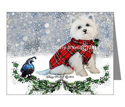 West Highland White Terrier Christmas NOTECARDS Winter Westie Set of 20 BLANK