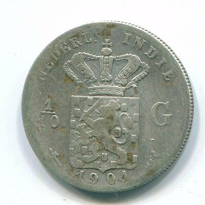 1901 Netherlands East Indies 1/10 Gulden Silver Colonial Coin Nl13209#3