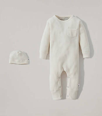 Burt's Bees organic Coverall + hat Ivory 6-9 months